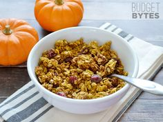A simple and delicious pumpkin spice granola with pumpkin, sunflower seeds, and dried cranberries.  Pumpkin Spice Granola - Budget Bytes