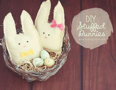 Easy and Fun DIY Stuffed Bunnies with LiveLaughRowe.com #easter #crafts #bunny