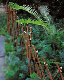 Willow branch edging for garden flower beds