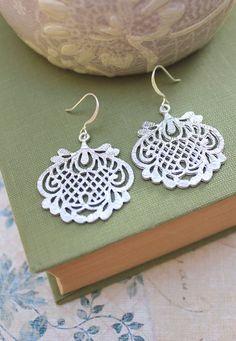 Silver Filigree Earrings Bridal Accessories Dangle Earrings Lace Drop Metal Statement Jewelry Romantic