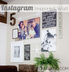 Instagram Inspired Gallery Wall. Use arrows to add some fun to your walls!