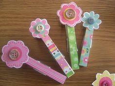 Artsy Clothespins...cute Flower idea