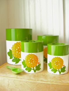 Vintage hand painted canister set