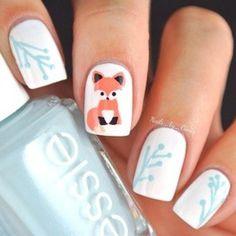Fox Nailart! Such a cute fox! #foxnails #cutenails #nailart #nails #nailpolish #naillacquer - bellashoot.com #blue #white #fox