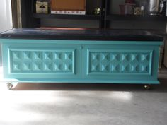 "Love how this cedar chest turned out!  Pop of Teal.   by Serendipity's Door on FB.  Visit our page and ""LIKE"""