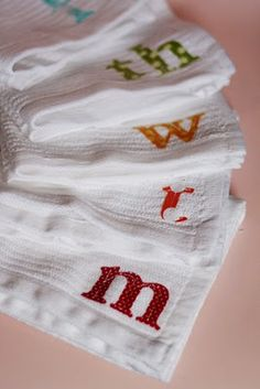 Cute Gift: Have your children cut and sew letters for Grandma's kitchen! A dishcloth a day...