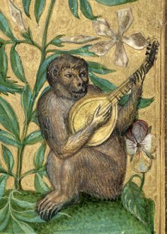 Detail of monkey playing lute, from Splendor Solis, 1582. British Library