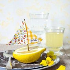 Lemon Sail Boat Placecards
