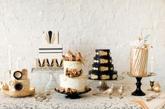 Monochrome and Gold Wedding cakes