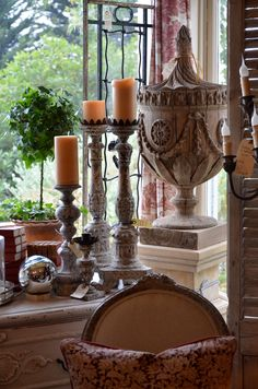 Old World Style ~ Candlesticks and Aged Gray Wood.  Rue de Lillie