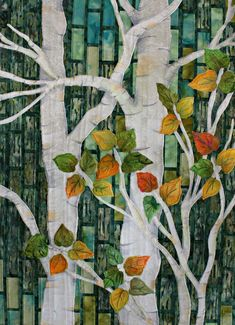 Trees quilt, from the book Radiant Landscapes: Transform Tiled Colors & Textures in Quilts by Gloria Loughmam. Class sample by Judy Applegarth at Scramp Alot.