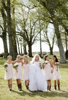 Bridesmaids in Cowgirl Boots - Love! #wedding