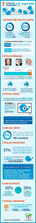 7 consejos para conseguir seguidores en Twitter. Infografía en español. #CommunityManager