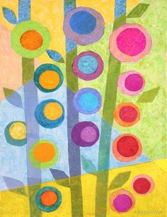 Flower Stalks Canvas Wall Art -- Great tissue paper art project!  Shows blending of colors.  Very pretty and Spring-like! quilt, tissu paper, circl, color, tissue paper flowers, canvas wall art, collag, tissue paper art, art projects