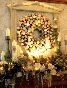modern christmas mantel | 31 Best Christmas Mantel Decorating Ideas for 2013 holiday, frame, decorating ideas, christma decor, ornament wreath, modern christmas, bungalow, christmas mantles, christmas mantels
