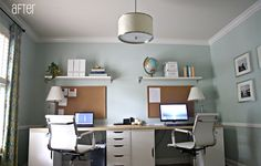 Our Share Space fan uses VIKA system to create a modern mirrored look workspace for two!