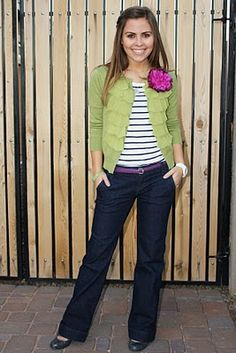green sweater with striped shirt and add purple as an accent color-total teacher outfit. like this idea, but don't have the wardrobe to do it.