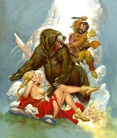 gallur 85, rafael gallur, bears, art, gallur 1948, pulp, rafaelgallur, paintings, grizzli bear