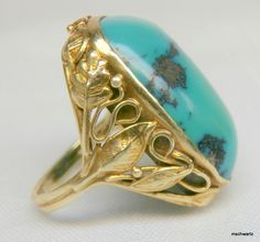 Arts & Crafts Art Nouveau Turquoise 14k Yellow Gold Ring Size 4.5