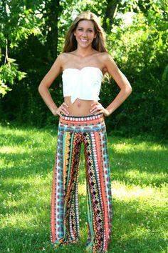 Bohemian Coral Meadows Yoga Pants