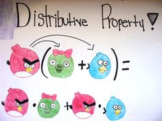 Art in math? Yep! Our art station in math is my favorite because I know I am reaching the kids in my room who are right-brained (typically left-handed.) This poster illustrates the distributive property with Angry Birds. I mean -- how cute is THAT??