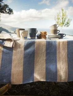 morning coffee, tablecloths, french blue, tea, stripes, blues, summer days, picnic, linen