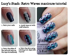 Lucy's Stash: Retro Waves manicure with tutorial! http://www.lucysstash.com/2012/07/retro-waves-manicure-with-tutorial.html retro wave, china glaze, waves, manicur, tutorial, nail arts, nail design, nails, dot