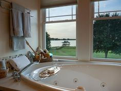 Blog Cabin's master bath has a stunning view of Lake Hamilton!