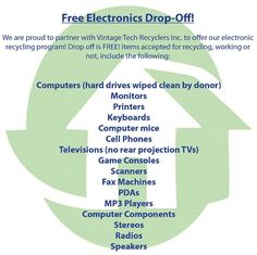 The ReStore accepts working and non-working electronics donations, FREE drop-off! Recycle your electronics at the ReStore!