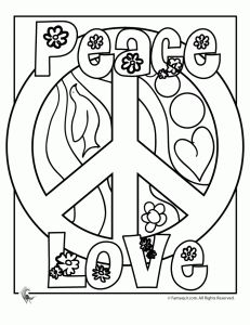 Peace Sign Coloring Pages  Being a true hippie chick at heart, I totally loved putting together these peace sign coloring pages. I thought they would be perfect for summer fun and also for 70′s themed birthday parties – in fact, I'm going to try and convince my youngest daughter to have a 70′s birthday party just because it would be SO much fun to put together!