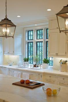 Classic white kitchen, marble, lanterns...black windows