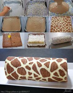 Yummy Recipes: Giraffe Patterned Swiss Roll Cake recipe
