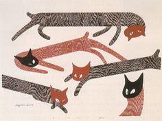 斎藤清 cats eye   woodcut by Kiyoshi Saito