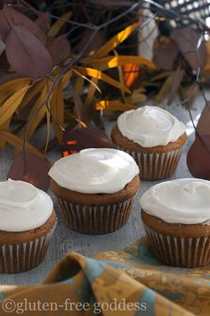 Gluten-free pumpkin cupcakes with maple cream cheese icing.