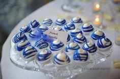 Blue & White Wedding Cake Truffles by taylormadepantry on Etsy, $400.00 for 200 Cake Pop/Truffles