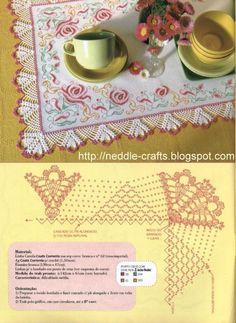 شغل ابره NEEDLE CRAFTS: باترون مفرش ايتامين بكنار كروشيه -cross stitch and crochet doily pattern
