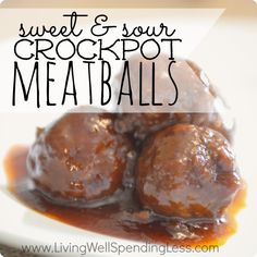 Sweet & Sour Crockpot Meatballs.  (aka Grape Jelly Meatballs!) Just 5 easy ingredients and 5 minutes of time, these meatballs are always the...