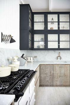 ❥. kitchen interior, vintage interiors, apricot, kitchen cabinets