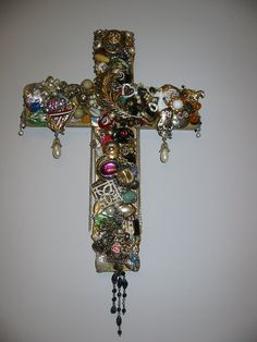 Cross bejeweled 14 inch handcut thick wooden by Crossesinspired, $70.00