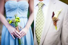 The bridesmaid bouquets and groomsmen boutonnieres featured rustic scabiosa pods. Greg Slick Photography.