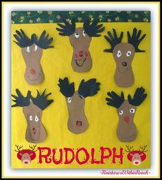 Rudolph Handprint Bulletin Board via RainbowsWIthinReach