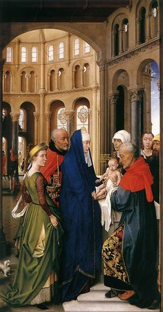 VAN DER WEYDEN Rogier - Flemish (Doornik 1400 - 1464) - ST COLUMBA ALTARPIECE  c. 1455 - right wing The Presentation at the Temple.