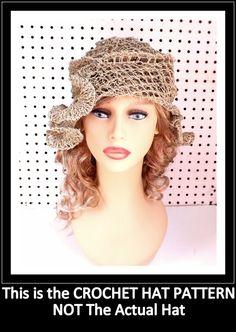 CYNTHIA Ruffle Womens Crochet Hat Pattern by strawberrycouture, $5.00 #crochethatpattern #crochet #hat #crochetpattern #beaniehat #beaniehatpattern #ruffles #rufflehat #hemp #hempcord #hempcordcrafts
