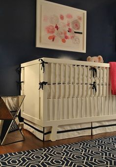 Dark blue nursery for girl