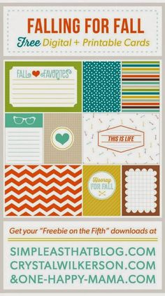 Quality DigiScrap Freebies: Falling for Fall journal cards freebie from One Happy Mama #ProjectLife #printable