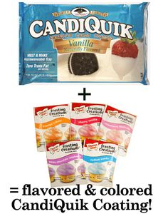 Candiquik + Duncan Hines Frosting Creations!  GREAT idea for coating plain flavored cake bites and cake pops!