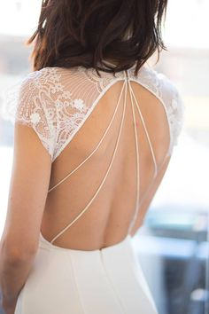 Alexandra Grecco Arlington Gown, chic wedding dress, lace cap sleeved wedding dress, side slit wedding dress, v-neck wedding dress, open back wedding dress, back detail wedding dress