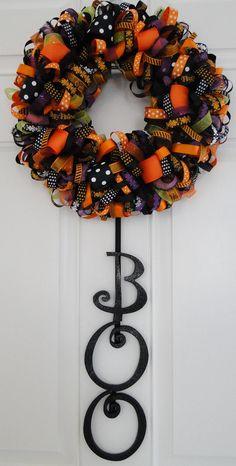 Halloween Ribbon Wreath Decoration- Boo.