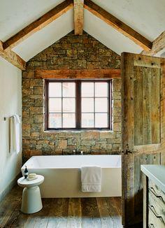 stone wall and wood beams
