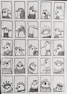 Bird 218 - fifth and final row of tiny doodle birds added .... By JG